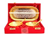 #8: IndianArtVilla Silver Plated Gold Polished Bowl Set with 2 Spoons & 1 Tray, 100 ML, Service For 2, Diwali Gift Item