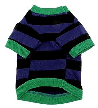 Smalllee _ Lucky _ Ranger pour animal domestique Vêtements pour petit chien chat 100% coton gui T-shirt pour homme Imprimé à rayures Bleu Noir L