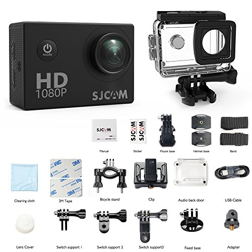 SJCAM SJ4000 Waterproof Action Camera HD 1080P Underwater Camera 12MP Sports Video Camcorder 170°Wide Angle Len 2.0 LCD Screen Display (BLACK)