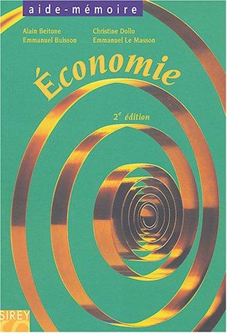 Économie : Aide-mémoire par Alain Beitone