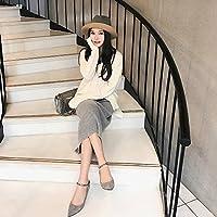 JJF Pequeños y puntiagudos zapatos de princesa solos con zapatos de señora,Gris,38