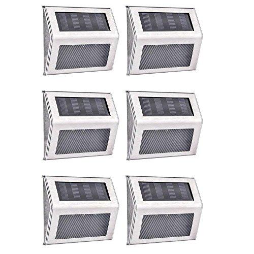 Lampada da parete solare, AUSHEN 3 LED luce solare per esterno, luce step in acciaio inox bianco lampada scala solare per scale, percorsi, patio o cortile, controllo on-off IP65 resistente all'acqua (6 pezzi)