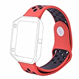 #10: J Small Bracelet Wristband , Soft Silicone Rubber Wrist Band Strap Belt for Fitbit Blaze Sport Watch Red Black (Small 6.2-7.6)