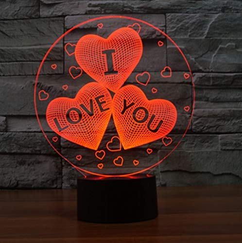 YKMY I Love You Lights, 3D Phantom Night Lights 7 Color Touch Lámparas de Mesa Luces de cumpleaños Luces de la Interfaz USB del día de San Valentín (Te Amo)