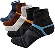 Joodax Men's Socks Athletic Ankle Socks Performance Cotton Cushioned Colorful Socks for Sports 5 Pairs