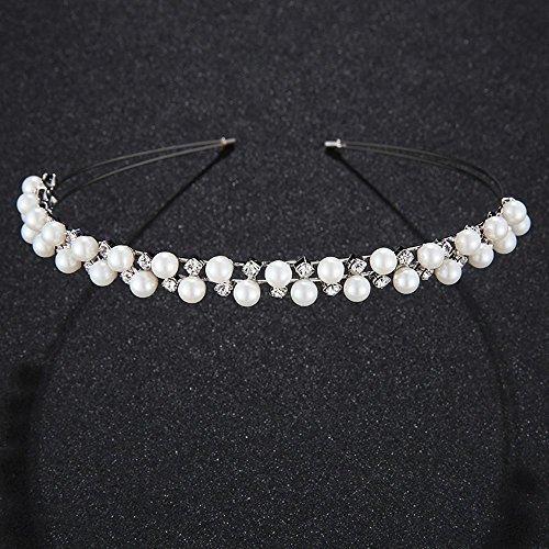 Haixng High-End-Krone Tiara Perlen Haar Hoop Hochzeit Zubehör (Tiara-haar-zubehör)
