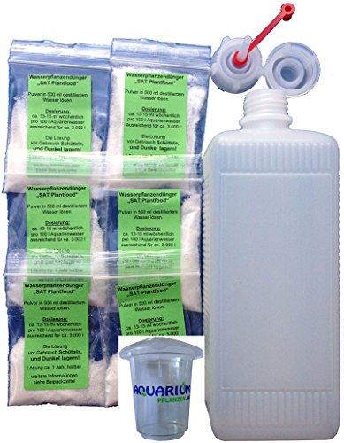 Aquarium Pflanzendünger für 6 x 3000 Liter (Pulver) + 1 Tropfflasche + Meßbecher