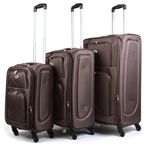 3er Set Stoff Reisekoffer mit Frontfach - Kofferset - Koffer - Reisegepäck - Handgepäck