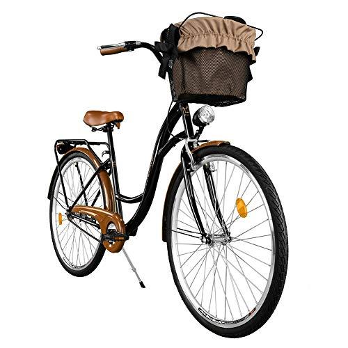 Milord. 2018 Cómoda Bicicleta de Ciudad, Bicicleta, 1 Velocidades, Rueda de 28', Negro-Marrón