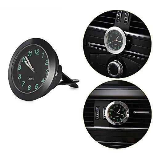 """Preisvergleich Produktbild FORNORM Uhr für Auto, Quarz Uhrwerk Auto Clip Auf Autouhr Analog Metall mit Nachtlicht Zeiger und Zahl, Schwarzes Zifferblatt Grüne Nummer, 1.4 * 0.4"""""""