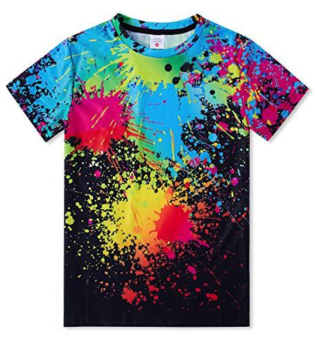 Idgreatim Jungen Kurzarm Oansatz T-Shirts Bunte Tinte 3D Gedruckt Pullover Mädchen Tees Schwarz Größen S -