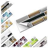 Wandaro 1 Stück Fliesenaufkleber 27,9 x 4,3 cm Kupfer dunkelgrau Silber Ziegel Design 6 I 3D Aufkleber Fliesenfolie Mosaik Bad Küche W3467