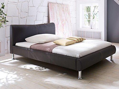"Polsterbett Doppelbett Ehebett Jugendbett Bett Einzelbett Betten ""Traum I"" (120x200 cm, Braun/Nähte-Beige)"