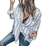 TWIFER Damen Bekleidung Striped Langarm Shirt Knopf Lose Beiläufige Oberteile Tee