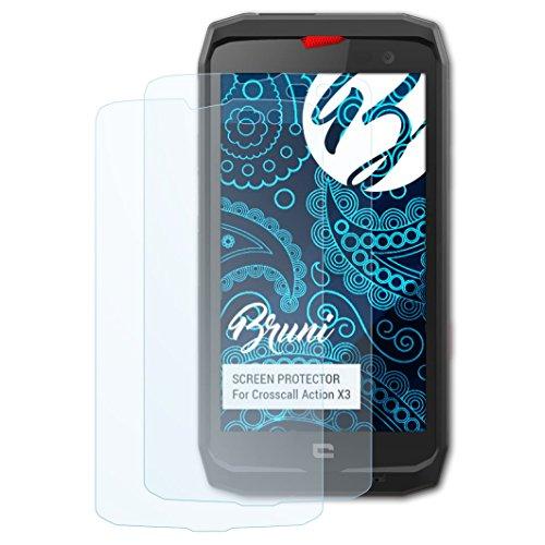 Bruni Schutzfolie für Crosscall Action X3 Folie, glasklare Bildschirmschutzfolie (2X)