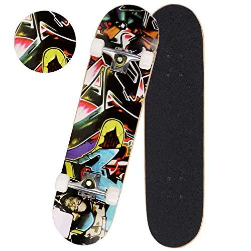 Hiriyt Skateboard Komplettboard 31 x 8 Zoll mit ABEC-7 Kugellager 9-lagigem Ahornholz für Kinder Jungendliche und Erwachsene, Belastung 100kg (Farbe 4)