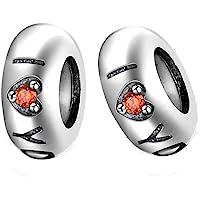 GW 2PC Stoppeur/Bloqueur Charms Argent 925 Caoutchouc pour Pandora/Style Européen Bracelets
