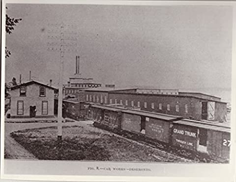 POSTER Rathbun Company railway car works Deseronto c.1891 looking towards southeast cedar mill background Grand Trunk railway cars foreground. picture originally published Lumberman 5 September 1891 Chicago . Deseronto eastern Ontario Canada Wall Art Print A3 replica
