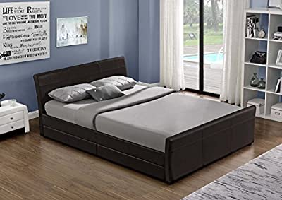 Leather sleigh bed with storage 4X drawers 3 COLOURS 5FT or 4FT6 By Limitless Base
