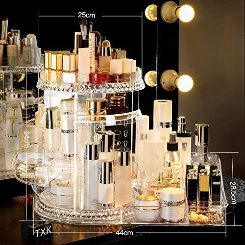 DNNAL Kosmetik Organizer 360 rotierendes Make-up-Organizer, DIY einstellbare transparente Make-up-Karussell-Spinnerei-Halter-Lagerregal -