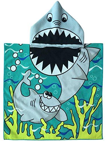 Sinblue - Serviette et poncho 2-en-1 - 61x 121,9cm- Pour enfant, WHITE SHARK