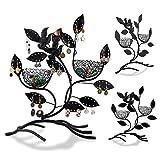 Schmuckständer im Baum Design - Schwarz 32 x 30 x 11 cm - Schmuckhalter Aufbewahrung und Präsentation - Grinscard