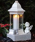 ♥ Grabschmuck Set Grablaterne Weiß 30,0cm mit Sockel Engel Gedenkstein und Grabkerze Grablampe Herz Grabschmuck Grableuchte Grablicht Laterne Kerze Licht Lampe Schutzengel