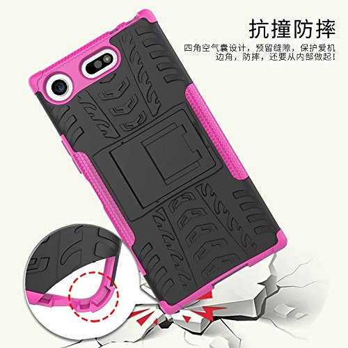 YHUISEN Sony Xperia XZ1 Compact case, Hyun Pattern Dual Layer Hybrid Armor Kickstand 2 in 1 Shockproof Case Cover für Sony Xperia XZ1 Compact ( Color : Purple ) Green