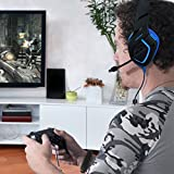 Gaming Headset PS4, MillSO K1 PC Gaming Headphone for Xbox One S Nintendo Switch Laptop With Stereo Noise Cancelling Mic LED Light Volume Control 3.5mm Audio Splitter Cable (Blue)