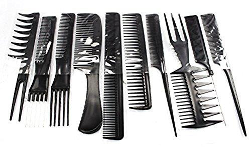 Qinlee Set 10 Pieces Peigne Plastique Noir Antistatique Hairdressing Stylists Barbers Combs pour Salon Coiffure Barbier Cheveux