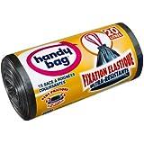 Handy bag - Basura bolsas con asas deslizantes y sujetadores elásticos 20 l/50 x 45 cm / 2 rollos de 15 sacos cada uno