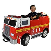 LKAutoFactors Big 2 Seats Hand Painted Electric Kids Ride On Toy Fire Engine