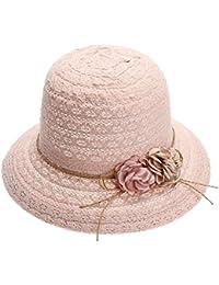 Haihuayan Sombrero De Paja Mujer Encajes Sol Del Verano Gorras Sombreros De  Ala Ancha Playa Mujeres Tapas Laterales Hembra Floppy… 135975b16a6