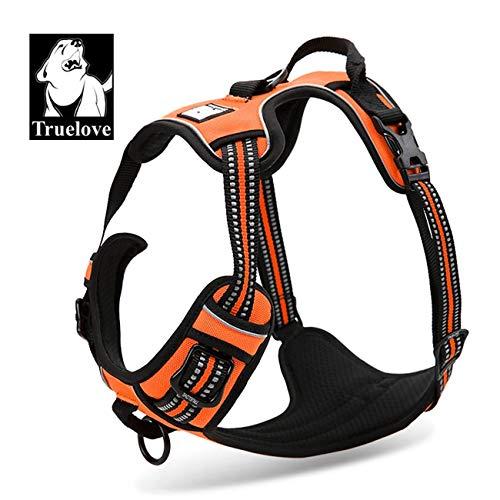 Truelove Comfort Control Hundegeschirr verstellbar Puppy Walk Hundegeschirr Warnweste Anti Leinenzug Sicherheit Weste tlh5651, M, Orange