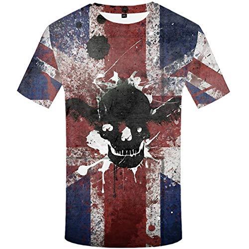 ZCYTIM Schädel T Shirt Männer Flügel Hip Hop T-Shirt Britische Flagge Tinte 3D Druck T-Shirt Anime Kleidung Punk Rock Herren Kleidung Streetwear -