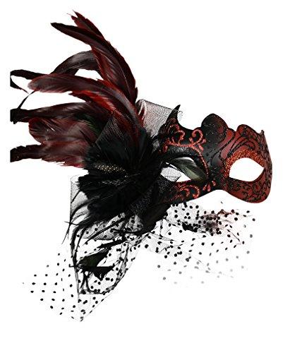 Rot-schwarze venezianische Maske mit (Kind Mit Venezianische Federn Maske)