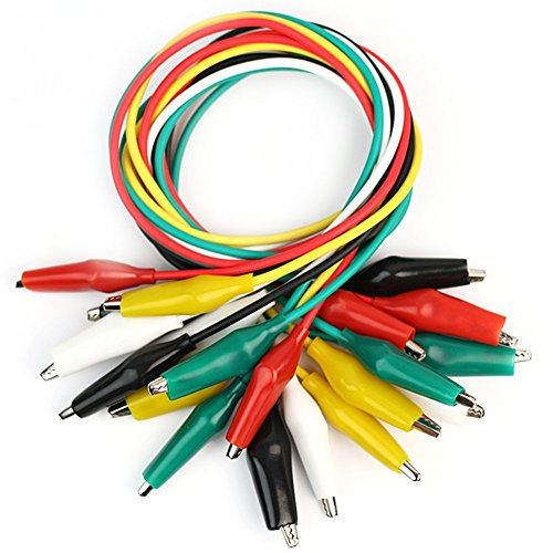 Lumanuby 10 pcs Test Fil Pince crocodile Test lead Line Crocodile Couleur câble de test avec double pince crocodile Test 5 couleurs de câble de 55 cm