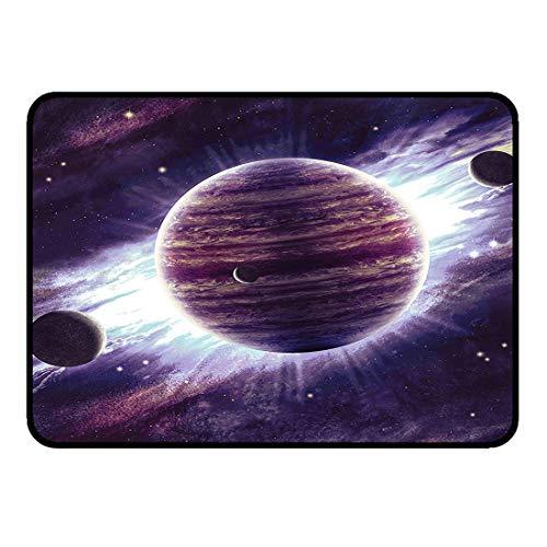 Ultraweiche Raum-Fußmatten Rutschfeste Fußmatte 50x80cm Galaxy Outer Space Theme Planeten Saturn Mars und Neptun Science-Fiction-Solarszene KunstdruckKüche Badezimmer Dusche Badewanne Teppich Eingang