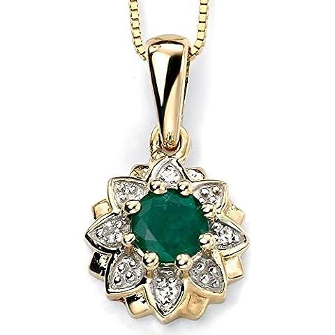 Mio gioiello – D916bit - collana smeraldo diamante in oroo 375/1000 caratos