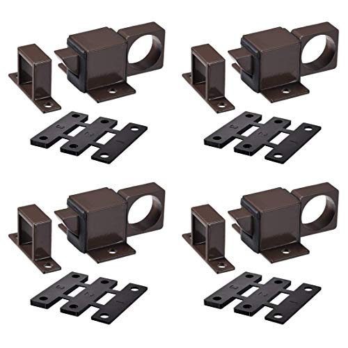 ZCHXD Door Bolt Latch, Aluminum Alloy Security Automatic Window Gate Spring Bounce Lock, 4 Pcs (Brown) -