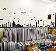 Europe Style City Wall Stickers Removable for Living Room Bedroom Home Decoration Wall Decal