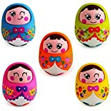 Push And Shake Wobbling Roly Poly Tumbler Doll With Soft And Sweet Bell Sounds, Multi Color