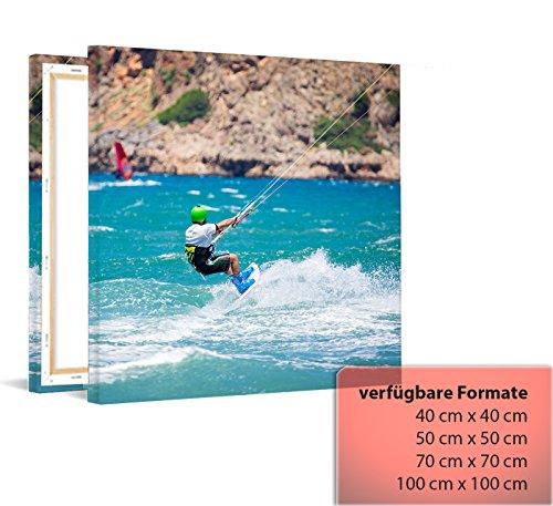 Kiteboard - Fotoleinwand auf Keilrahmen Leinwandbild Kunstdruck aufgespannt Wandbild, Variante:100 cm x 100 cm