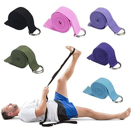 LQZ(TM) D-anneau bande élastiques exercice de yoga bande de gym accessoire de sport fitness (noir, 180)