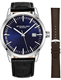 Stuhrling Original Mens Blue Dial Swiss Quartz Dress Designer Wrist-Watch Stainless Steel 10 mm Case with A Set of Two Easily Interchangeable Embossed Genuine Leather Straps