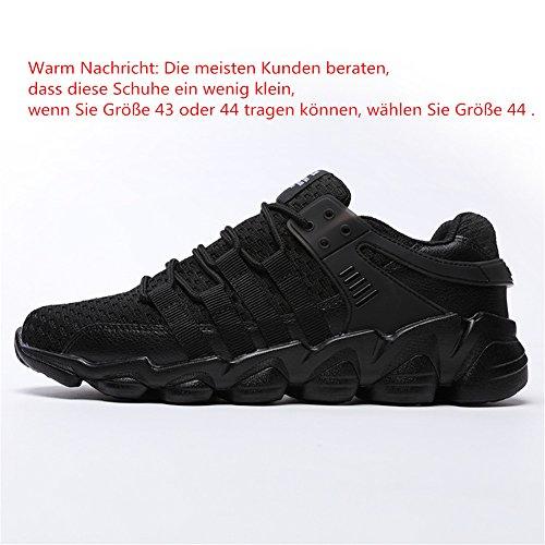 HUSK'SWARE Herren Laufschuhe Atmungsaktiv Gym Turnschuhe Freizeit Schnürer Sportschuhe Sneaker Schwarz-1