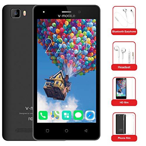 Moviles Baratos 10Pcs v·mobile A10 Telefonos Dual SIM 4G 5.0' Android 7.0 Batería 2800mAh 8GB ROM Cámara 5MP Telefonos Moviles Libres(Oro Blanco Negro opcional)(Negro)