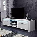 Messa – TV-Lowboard/Fernsehschrank / Fernsehtisch mit 2 Schränkchen und 2 offenen Fächern (140 cm, in Weiß mit LED-Beleuchtung)