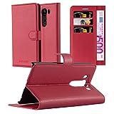 Cadorabo Hülle für LG V10 - Hülle in Karmin ROT – Handyhülle mit Kartenfach und Standfunktion - Case Cover Schutzhülle Etui Tasche Book Klapp Style