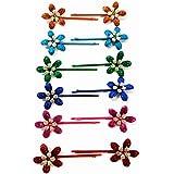 12 horquillas de pelo metal pintado multicolor disño flor con brillantes (bisuteria) 7,5 cm alta calidad